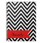 Your Name - Zigzag (Chevron) - White Black Red Spiral Note Book