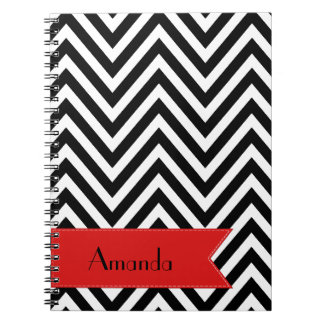Your Name - Zigzag Chevron - White Black Red Spiral Note Book