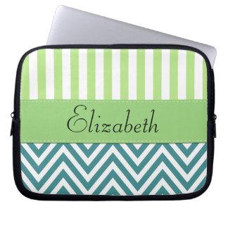 Your Name - Zigzag Chevron - White Blue Green Laptop Computer Sleeve