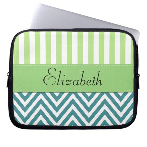 Your Name - Zigzag (Chevron) -  White Blue Green Laptop Computer Sleeve