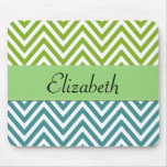 Your Name - Zigzag (Chevron) -  White Blue Green Mousepads