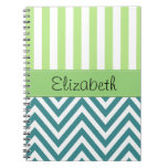 Your Name - Zigzag (Chevron) -  White Blue Green Spiral Note Books