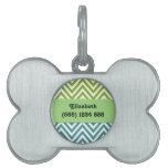 Your Name - Zigzag (Chevron) -  White Blue Green Pet ID Tag