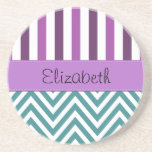 Your Name - Zigzag (Chevron) -  White Blue Purple Beverage Coasters