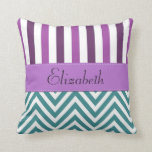 Your Name - Zigzag (Chevron) -  White Blue Purple Throw Pillow