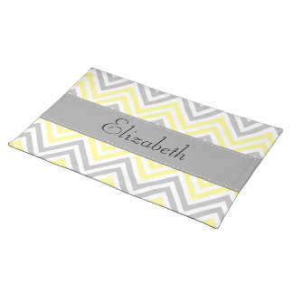 Your Name - Zigzag (Chevron) - Yellow Gray White Cloth Place Mat