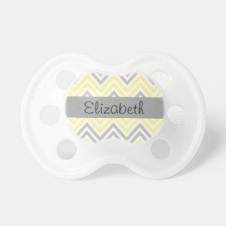 Your Name - Zigzag (Chevron) - Yellow Gray White Pacifier