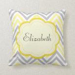 Your Name - Zigzag (Chevron) - Yellow Gray White Throw Pillow