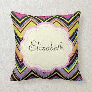 Your Name - Zigzag Pattern, Chevron - Green Blue Throw Pillow