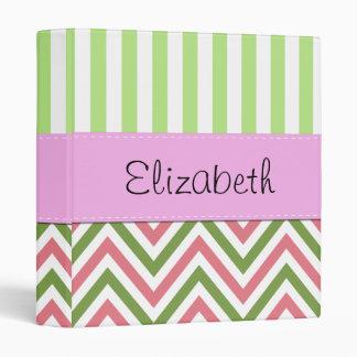 Your Name - Zigzag Pattern, Chevron - Green Pink 3 Ring Binder