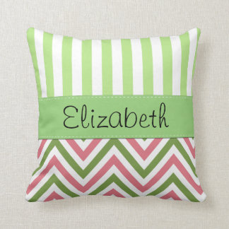 Your Name - Zigzag Pattern, Chevron - Green Pink Throw Pillow