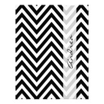 Your Name - Zigzag Pattern, Chevron - White Black Flyer