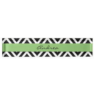 Your Name - Zigzag Pattern, Chevron - White Black Nameplate