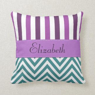 Your Name - Zigzag Pattern, Chevron - White Blue Throw Pillow