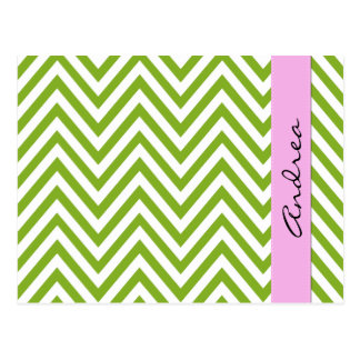 Your Name - Zigzag Pattern, Chevron - White Green Postcard
