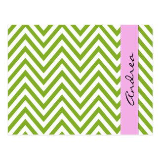 Your Name - Zigzag Pattern, Chevron - White Green Postcard