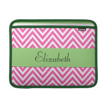 Your Name - Zigzag Pattern, Chevron - White Pink MacBook Air Sleeve