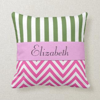 Your Name - Zigzag Pattern, Chevron - White Pink Throw Pillow