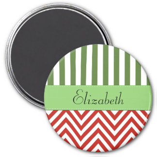 Your Name - Zigzag Pattern, Chevron - White Red 3 Inch Round Magnet