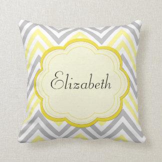 Your Name - Zigzag Pattern, Chevron - Yellow Gray Throw Pillow