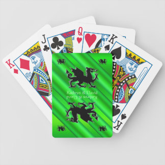 Your Names, Black Dragons logo, green metal-effect Bicycle Playing Cards