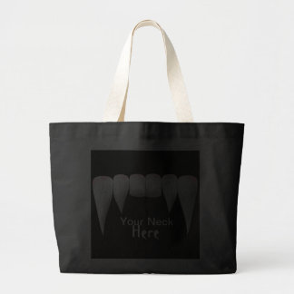 Your neck here fang tote bags