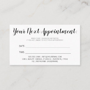 your next appointment reminder bold minimalist