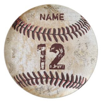 YOUR NUMBER and NAME on Baseball Dinner Plates  sc 1 st  YourSportsGifts.com & Customizable Vintage Baseball Party Supplies | YourSportsGifts ...