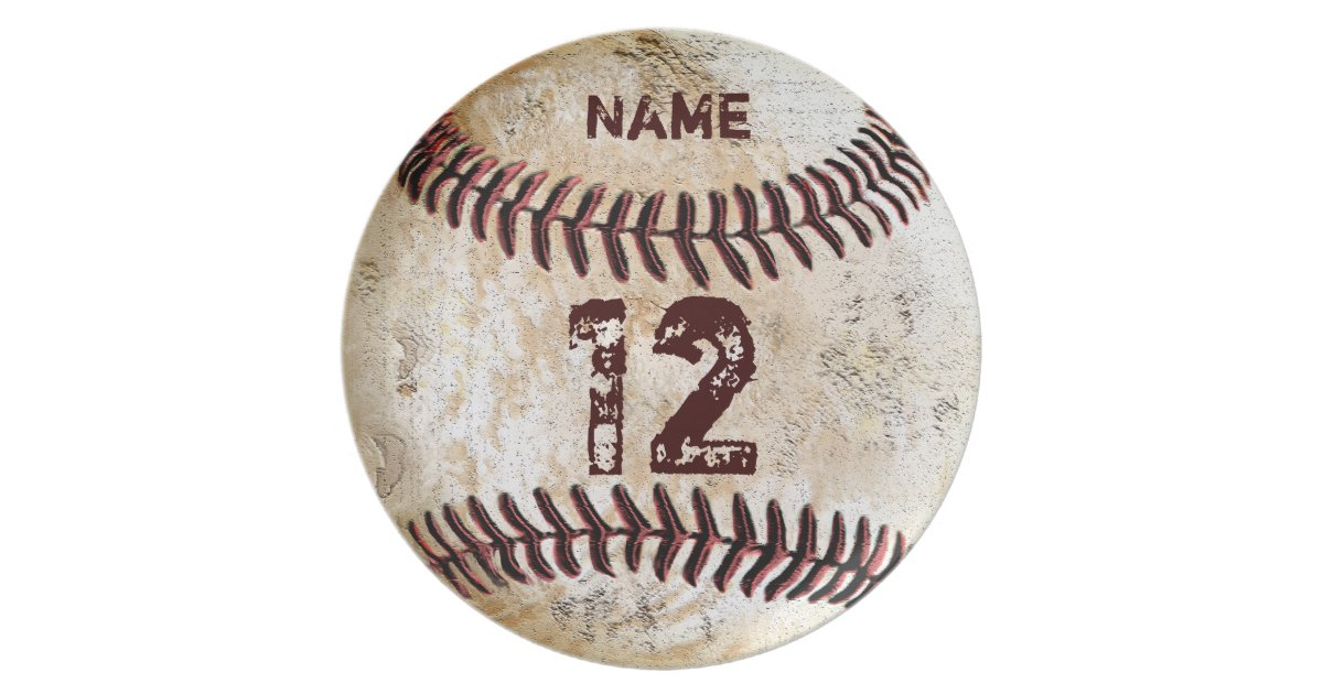 Your Number And Name On Baseball Dinner Plates Zazzle Com