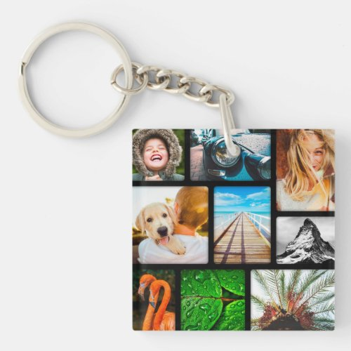 Your Own 18 Photo Collage Framed Black Keychain