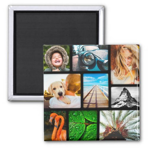 Your Own 9 Photo Magnet Collage Framed Black