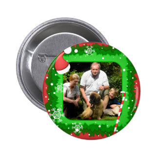 Your own photo in a Christmas frame! - Pinback Button