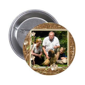 Your own photo in a Golden Flowers Frame! - Pinback Button