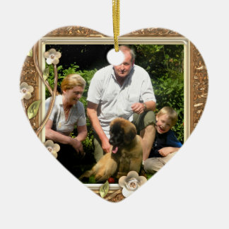 Your own photo in a Golden Flowers Frame! - Double-Sided Heart Ceramic Christmas Ornament