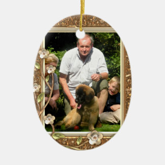 Your own photo in a Golden Flowers Frame! - Double-Sided Oval Ceramic Christmas Ornament