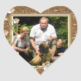 Your own photo in a Golden Flowers Frame! - Heart Sticker