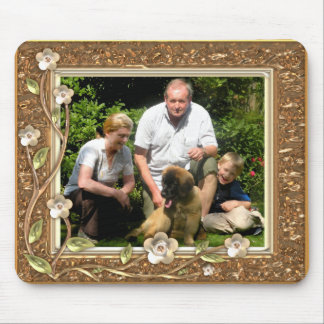 Your own photo in a Golden Flowers Frame! - Mouse Pad
