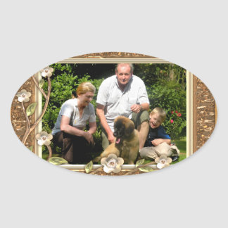 Your own photo in a Golden Flowers Frame! - Oval Sticker