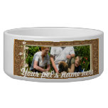 Your own photo in a Golden Flowers Frame! - Pet Food Bowl