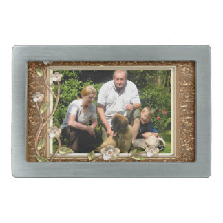 Your own photo in a Golden Flowers Frame! - Rectangular Belt Buckle