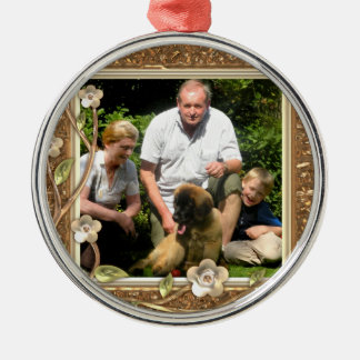 Your own photo in a Golden Flowers Frame! - Round Metal Christmas Ornament