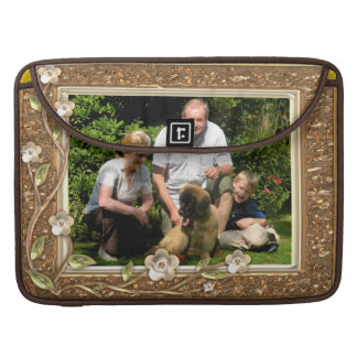 Your own photo in a Golden Flowers Frame! - Sleeve For MacBooks