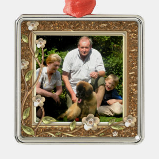 Your own photo in a Golden Flowers Frame! - Square Metal Christmas Ornament