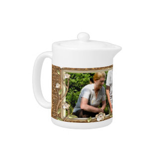 Your own photo in a Golden Flowers Frame! - Teapot