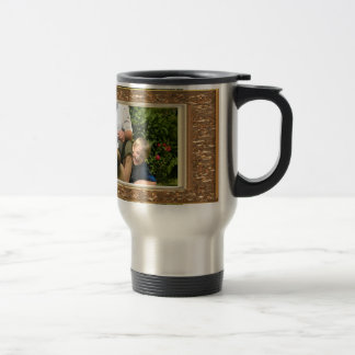 Your own photo in a Golden Flowers Frame! - Travel Mug