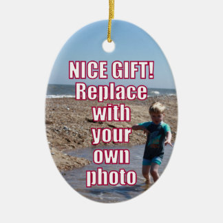 Your Own Photo Upload Best Personal Picture Gift ! Ceramic Ornament