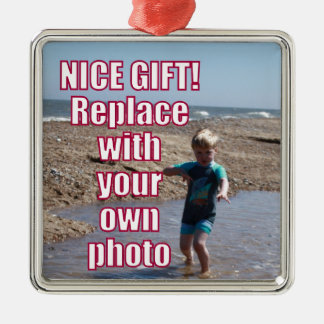 Your Own Photo Upload Best Personal Picture Gift ! Metal Ornament