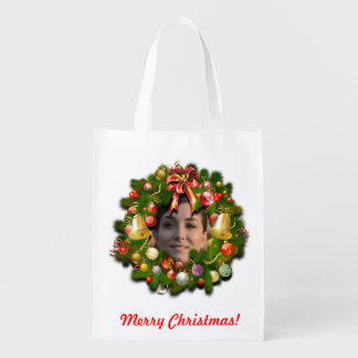 Your Own Photo Xmas Wreath Reusable Grocery Bags