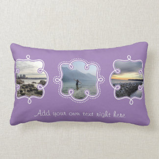 Your Own Photos and Text Lavender Purple Lumbar Pillow
