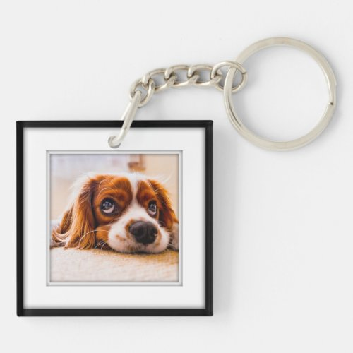 Your Own Square 2 Photo Framed Black Shadow Inlay Keychain